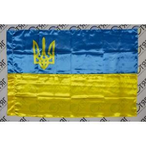 Прапор України, атлас, тризуб 90см*135см