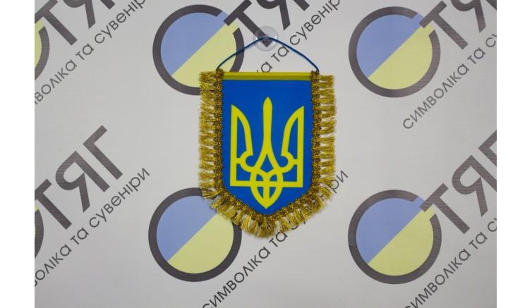 Вимпел України, з бахромою на присосці 16,0см*11,0см