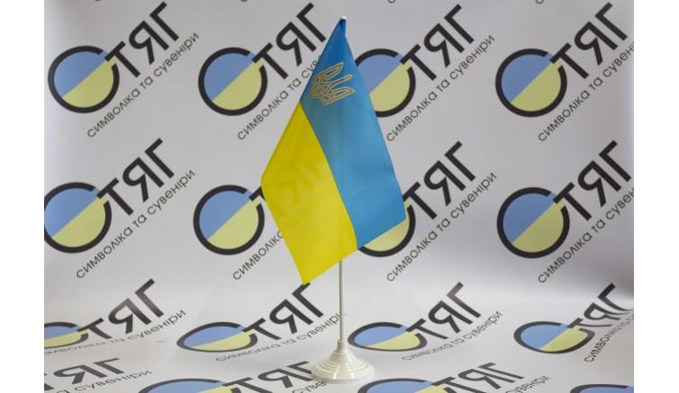 Прапорець України, нейлон, тризуб 12см*18см